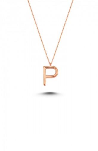 Harfli Gümüş Kolye Rose P Harfi Standart Alv006 2056 Alv006 2056