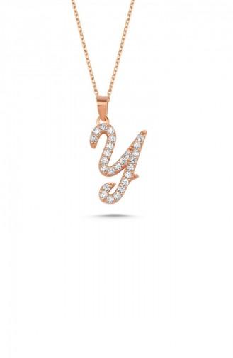 Gümüş Harfli Kolye İtalik Rose Rengi Y Harfi Standart Blv00137 3350