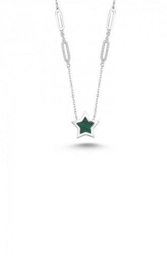 Oval Halka İçi Yeşil Yıldız Kolye Nckcz6615