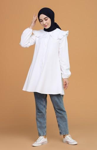 Bebe Yaka Gömlek 5549-01 Beyaz