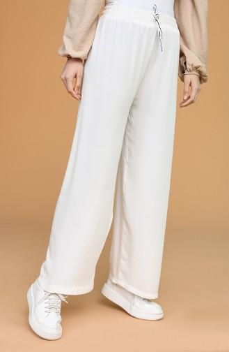Beli Lastikli Bol Paça Pantolon 4435-18 Ekru Beyaz