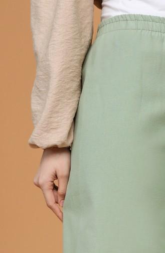 Beli Lastikli Bol Paça Pantolon 4438-01 Yeşil 4438-01