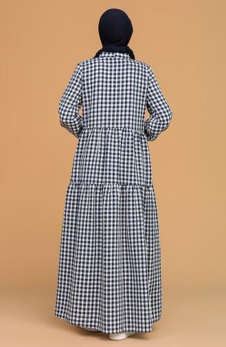 Kravat Yaka Büzgülü Elbise 1637-01 Lacivert