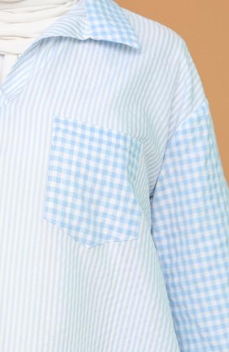 Oversize Gömlek 3282-06 Bebek Mavisi 3282-06