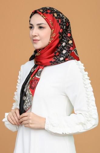 Desenli Rayon Eşarp 9489-04 Kırmızı Siyah