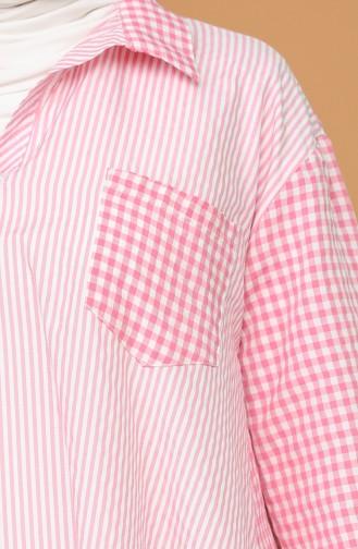 Oversize Gömlek 3282-07 Pembe
