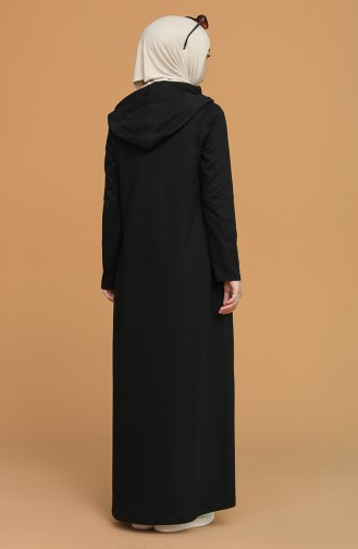 Kapüşonlu Cepli Elbise 3281-08 Siyah