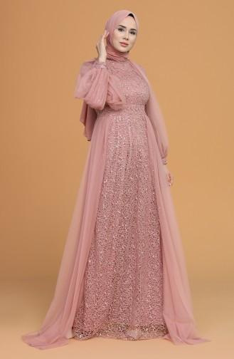 Dusty Rose İslamitische Avondjurk 5519-02