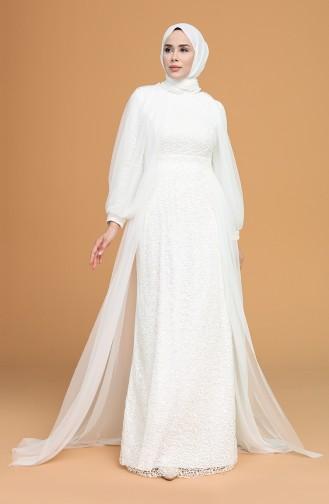 Naturfarbe Hijab-Abendkleider 5519-03