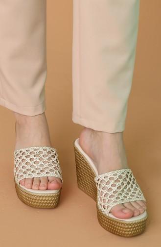Beige Summer Slippers 300D-01
