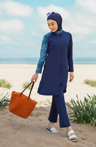 Maillot de Bain Hijab Bleu Marine 21405-01
