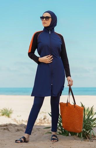 Dunkelblau Hijab Badeanzug 21407-02