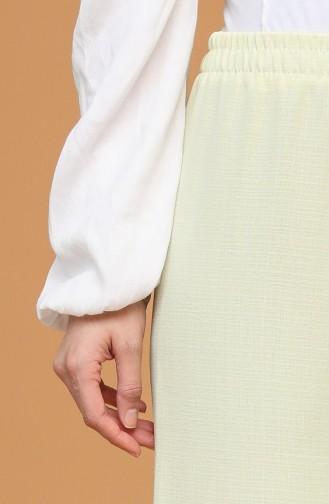 Beli Lastikli Bol Paça Pantolon 4445-15 Sarı