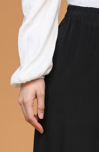 Beli Lastikli Bol Paça Pantolon 4445-16 Siyah
