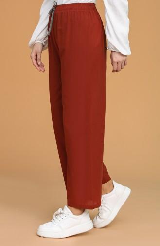Beli Lastıklı Bol Paça Pantolon 4448-01 Kiremit 4448-01