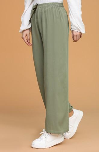 Beli Lastıklı Bol Paça Pantolon 4448-03 Yeşil