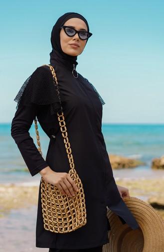 Schwarz Hijab Badeanzug 21403-01