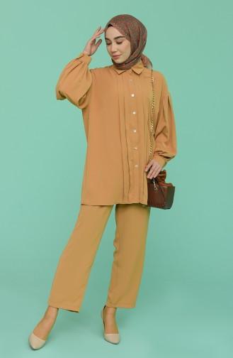 Düğmeli Tunik Pantolon İkili Takım 0117-03 Sütlü kahve 0117-03