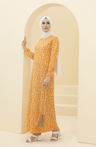 Mustard İslamitische Jurk 8899-03