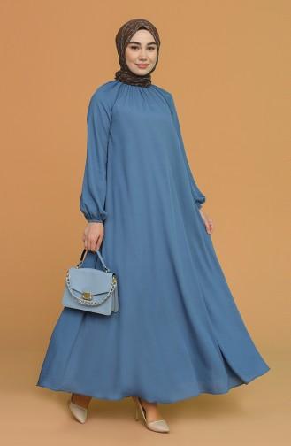 Kolu Ve Yakası Büzgülü Elbise 3210-06 İndigo