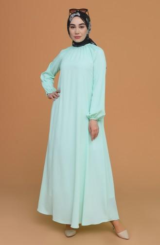 Kolu Ve Yakası Büzgülü Elbise 3210-08 Mint Yeşili