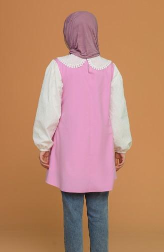 Güpürlü Kol Bebe Yaka Tunik Gömlek 5550-02 Pembe