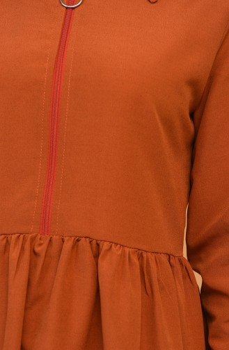 Fermuarlı Tunik Pantolon İkili Takım 0206-09 Kiremit Karamel