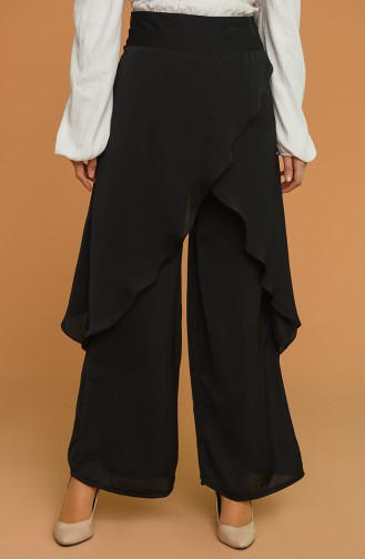 Dökümlü Pantolon Etek 3209-04 Siyah