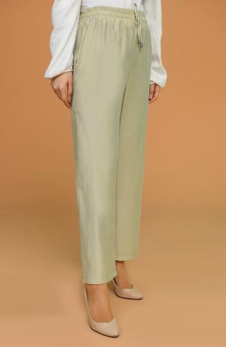 Aerobin Kumaş Bol Paça Pantolon 0155-10 Açık Çağla Yeşil