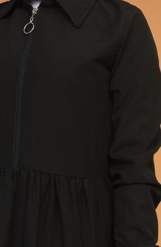 Fermuarlı Tunik Pantolon İkili Takım 0206-10 Siyah Bej 0206-10