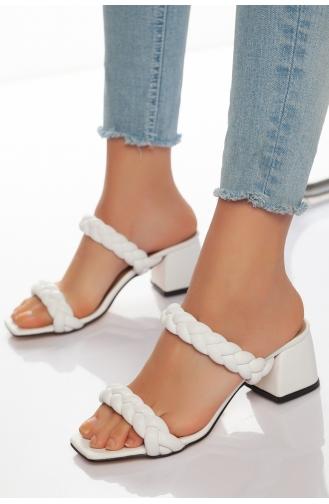 Kadın Topuklu Terlik HVZ30-01 Beyaz