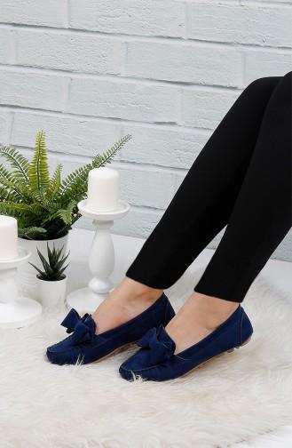 Navy Blue Women`s Flats 0104-06