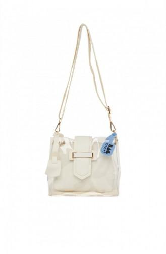 Bagmori Kemer Detaylı Mini Şeffaf Çanta M000005982 Beyaz