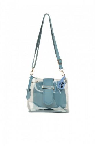 Bagmori Kemer Detaylı Mini Şeffaf Çanta M000005982 Mavi