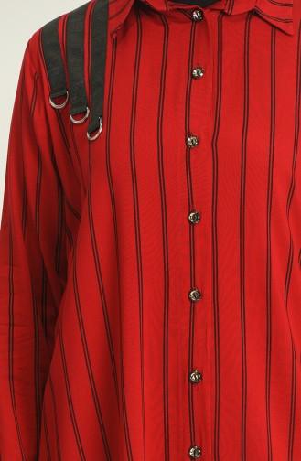 Büyük Beden Çizgili Gömlek 2349-02 Bordo