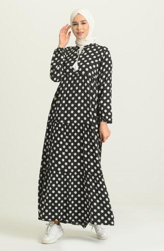 Puantiyeli Elbise 5290-05 Siyah Beyaz