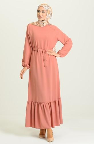 Robe Hijab Rose Pâle 1009-03