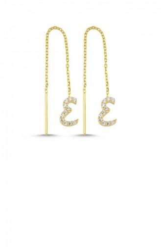 Gümüş İtalik Gold Rengi Harfli İğneli Küpe E Harfi Standart