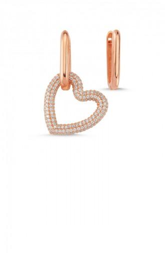 Gümüş Trendy Kalpli Küpe Rose Standart