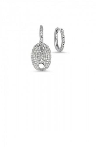 Gümüş Trendy G Küpe Rose Standart