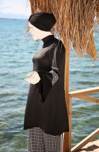 Bol Kesimli Salaş Model Likralı Tam Kapalı Tesettür Mayo 4´lü Set Marina Mayo 1960 Siyah