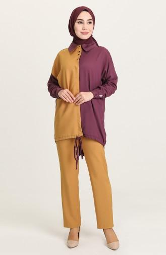 Düğmeli Tunik Pantolon İkili Takım 15001-03 Hardal Mürdüm