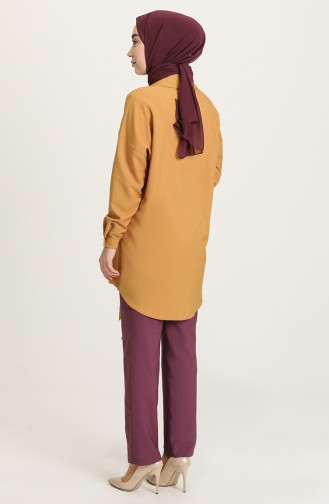 Buttoned Tunic Trousers Double Suit 15001-04 Damson Mustard 15001-04