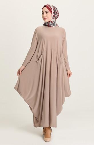 Beige Hijab Dress 1686-06