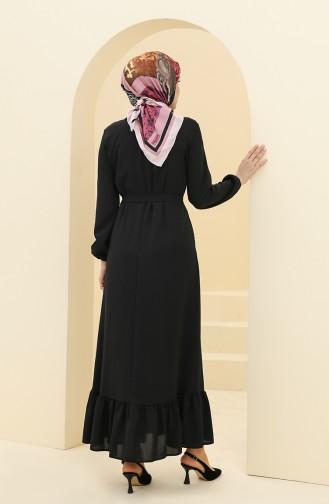 Aerobin Kumaş Kemerli Büzgülü Elbise 2003-07 Siyah