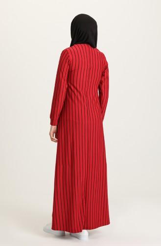 Claret Red Hijab Dress 0884-02