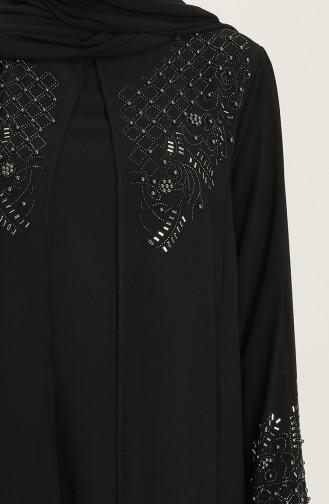 Schwarz Hijab-Abendkleider 5501-02
