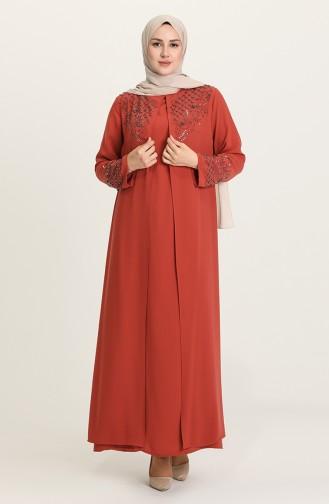Ziegelrot Hijab-Abendkleider 5501-04