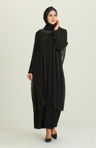فساتين سهرة بتصميم اسلامي أسود 3160-02