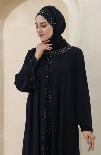 Habillé Hijab Bleu Marine 3160-03